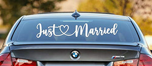 Vinyl Decal 26X5 Just Married Car Decorations, Removable, Elegant Wedding Decorations Add Sparkle to Any Event, Bridal Shower, Church Wedding Reception, Honeymoon Getaway