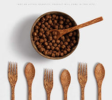 Load image into Gallery viewer, Hygge Wooden Coconut Bowls with Spoons and Forks (6 Pack-2 Bowls, 2 Spoons, 2 Forks) Dinnerware Set Smoothie Bowl, 100% Natural- Vegan-Organic-Eco Friendly-Hand Made from Coconut Shells-Artisan Craft