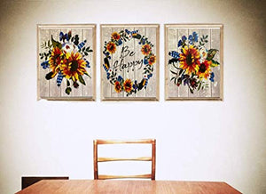 "Boho Sunflower Wall Art Prints - Set of 3 UNFRAMED - Ready to Frame Decorative Flower Wall Art PRINTS - 8""x10"" Floral PRINT Decor for Bedroom, Kitchen, Living Room, Nursery - Inspiring Gifts for Any Garden or Nature Lover - Made in the USA"