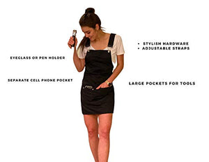 Cross Back Apron | Black Apron for Men and Women with Pockets | Adjustable Chef Apron for Grilling | Cotton Kitchen Apron | Ideal for Bakers, Florists, Hair Stylists, and More!