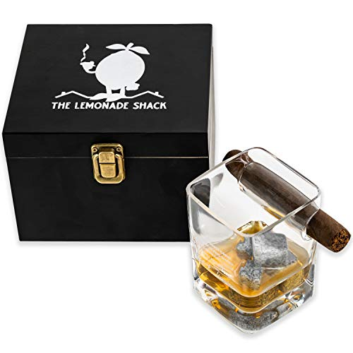 The Lemonade Shack Cigar Glass Set - Mark Twain Engraved Glassware with 4 Whiskey Stones and Holder for Accessories - Wooden Box for Gifts and Display