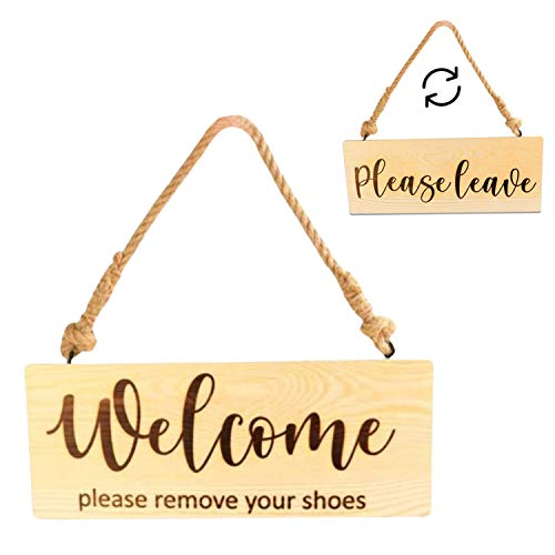 NSKings LLC Rustic Home Wooden Welcome Please Remove Your Shoes Sign, Welcome Sign for Front Door Decor, Outdoor Decoration, No Shoes Sign for Your Home, Double Sided 11.6