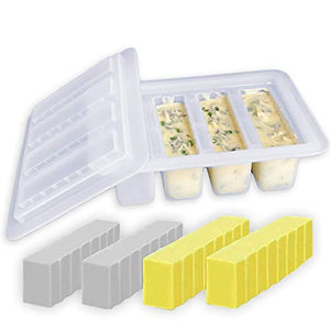 Butter Molds Silicone Butter Mold - Crystal Clear Butter Sticks Magical Butter Tray Includes Butter Recipe Booklet Non-Stick Rectangular Mold