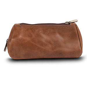 Leather Tobacco Pouch & Pipe Carrying Case (Brown)