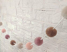Load image into Gallery viewer, Zoe Frances Designs Yarn Pom Pom Garland - Colorful Hanging Decorations for Nursery, Baby Shower, Birthday & Christmas - Bedroom Decor for Girls - Blush Pink, Mauve & Mustard Gold