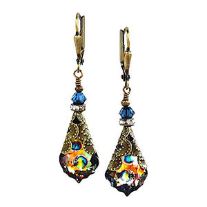 HisJewelsCreations Crystal Earrings for Women Fashion with Crystals by Swarovski Jewelry Gift Box (Blue/Peacock)
