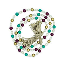 "Load image into Gallery viewer, Creative Solutions Farmhouse 72"" Wood Bead Garland with Tassels: Teal/Red/Gold Multi-Colored Rustic Prayer Beads for Wall Hanging Decor"