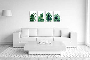 Botanical Prints Wall Art 8X10 UNFRAMED for Bathrooms, 4 Pieces Tropical Plants Pictures Minimalist Watercolor Painting, Palm Banana Monstera Green Leaf Wall Decor for Office Bedroom Living RoomHome Wall Art Décor Plants Posters Oil Paintings Posters Prin