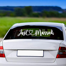 Load image into Gallery viewer, Vinyl Decal 26X5 Just Married Car Decorations, Removable, Elegant Wedding Decorations Add Sparkle to Any Event, Bridal Shower, Church Wedding Reception, Honeymoon Getaway