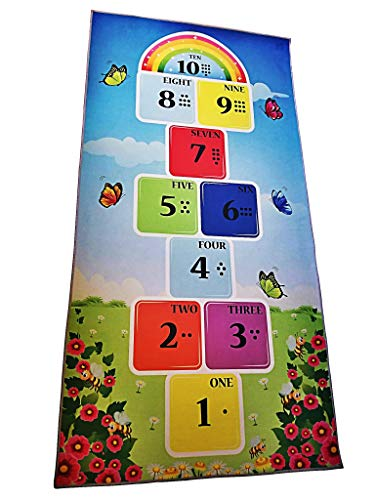 Hopscotch Rug (3' X 6') – 100% Polyester Hop and Count Hopscotch Rug with Counting Dots & Numbers - Durable Educational Rugs for Kids Ideal for Bedroom, Playroom & Nursery