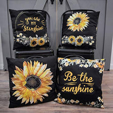 "Load image into Gallery viewer, Sunflower Pillow Covers (18"" x 18"" - Set of 4) Double Sided Sunflower Throw Pillow Cover Set w/ Hidden Zippers – Sunflower Decorative Pillows – Sunflower Pillow Covers 18x18 for Sofa or Bed"