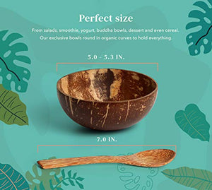 Hygge Wooden Coconut Bowls with Spoons and Forks (6 Pack-2 Bowls, 2 Spoons, 2 Forks) Dinnerware Set Smoothie Bowl, 100% Natural- Vegan-Organic-Eco Friendly-Hand Made from Coconut Shells-Artisan Craft