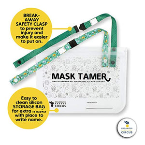 Breakaway Mask Lanyard for Kids - Pack of Two Face Mask Lanyards for Kids and One Face Mask Storage Case to Hold The Cute Breakaway Lanyard for Kids in School by Organized Circus (Reptile)