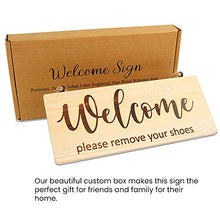 "Load image into Gallery viewer, NSKings LLC Rustic Home Wooden Welcome Please Remove Your Shoes Sign, Welcome Sign for Front Door Decor, Outdoor Decoration, No Shoes Sign for Your Home, Double Sided 11.6"" x 4.65"""