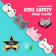 Load image into Gallery viewer, Matt and Mollie Kids Safety Sleep Mask - Children's Eye Cover for Sleeping at Home & During Travel - Cute Animal Designs, Wide Adjustable Pull-Apart Strap (White Cat)