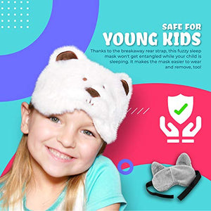 Matt and Mollie Kids Safety Sleep Mask - Children's Eye Cover for Sleeping at Home & During Travel - Cute Animal Designs, Wide Adjustable Pull-Apart Strap (White Cat)