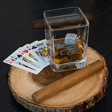 Load image into Gallery viewer, The Lemonade Shack Cigar Glass Set - Mark Twain Engraved Glassware with 4 Whiskey Stones and Holder for Accessories - Wooden Box for Gifts and Display