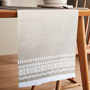 Hygge Boho Table Runner- Bohemian Table Runner-Cream Table Runners 72 inches Long – Camino de mesa de comedor decoracion (12 x 72) Washable Durable Faux Fringe Burlap