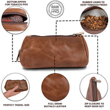 Load image into Gallery viewer, Leather Tobacco Pouch & Pipe Carrying Case (Brown)