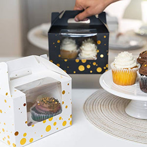 Cupcake Boxes 4 Compartment Holder With Removable Inserts And Box Window For Cupcake Bakery - 15 Pack With 60 Total Cavity Capacity (BLACK)