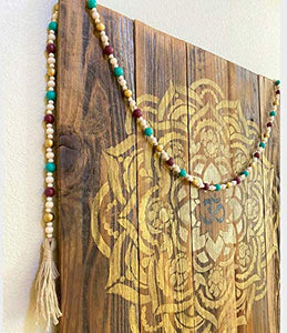 "Creative Solutions Farmhouse 72"" Wood Bead Garland with Tassels: Teal/Red/Gold Multi-Colored Rustic Prayer Beads for Wall Hanging Decor"