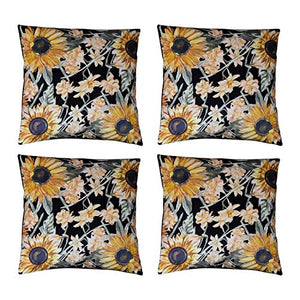 "Sunflower Pillow Covers (18"" x 18"" - Set of 4) Double Sided Sunflower Throw Pillow Cover Set w/ Hidden Zippers – Sunflower Decorative Pillows – Sunflower Pillow Covers 18x18 for Sofa or Bed"