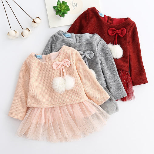 Baby Girls Long Sleeve Dress Knitted Sweater - babiesfamily