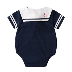 Summer Baby Boy Clothing Jumpsuits White Navy - babiesfamily
