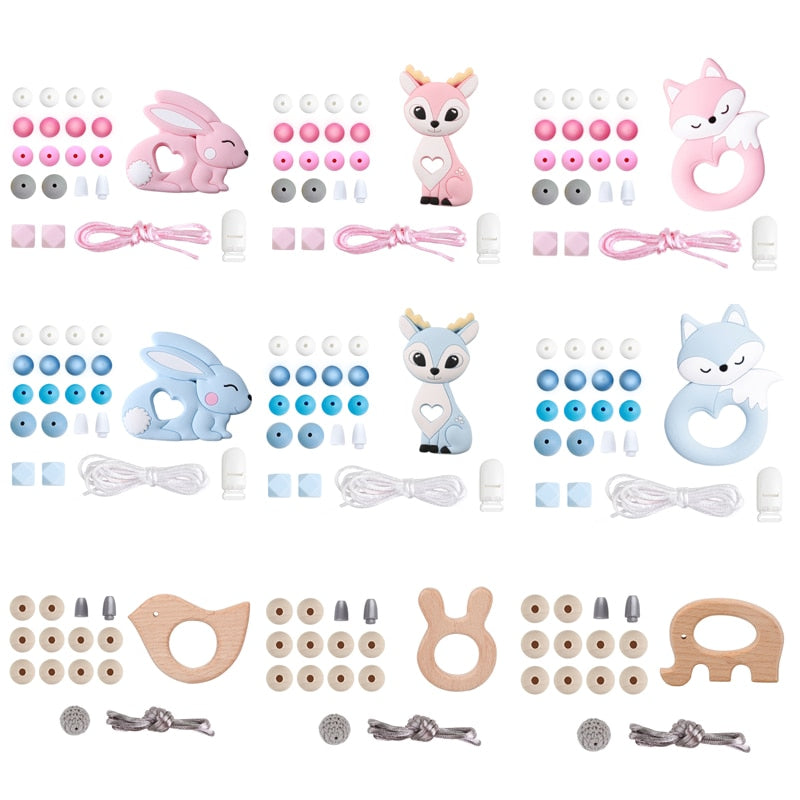 Silicone Beads Set Wooden Rodent Food Grade BPA Free Fox Rabbit DIY Accessories Set Pacifier Chain Clips Nylon Rope Let's Make