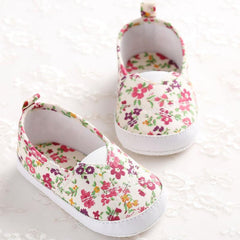 Newborn Baby Girl Floral Printed Soft Shoes - babiesfamily