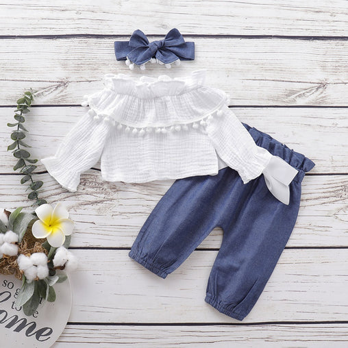 Newest Clothes Set For Girls 2020 Infant Baby Flare Sleeve Ruffles Solid Print Tops+Pants+Headband Outfits Autumn Kids Outfits - babiesfamily