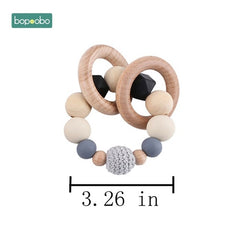 Baby Toy Wooden Pram Clip Baby Mobile Pram Personalize Silicone Bead Pacifier Chain Chewable Silicone Rattle Baby Wooden Teether