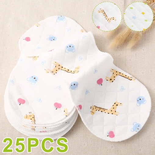 25pcs Reusable Infant Nappy Inserts Washable Cloth Diapers Soft Peanut Shaped 3-layer Baby Nappy Water Absorbent Breath Diaper