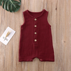 Summer Solid Rompers Ropa Sleevless Casual Clothes unisex - babiesfamily