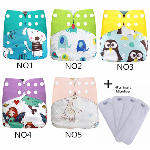 [simfamily]4+4/set Reusable Waterproof digital printed baby Cloth Diaper One Size Pocket baby nappies wholesale price fit