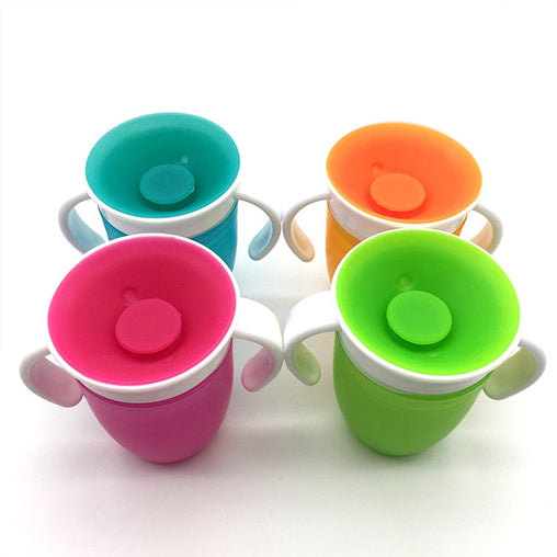 1PC 360 Baby Cups Can Be Rotated Magic Cup Baby Learning Drinking Cup LeakProof Child Water Cup Bottle 240ML Copos Learning cup