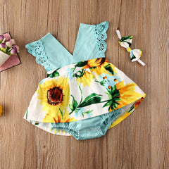 Newborn Baby Girls V-Neck Rompers Sunflowers - babiesfamily