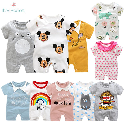 Short Sleeved Girls Dress Baby Romper Cotton Newborn Body Suit Baby Pajama Boys Animal Monkey Rompers 2020 - babiesfamily
