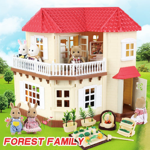 1:12 Forest House Miniature Children's Villa ABS Kitchen House 1/12 Forest Animal Family Simulation Mini Girl Home Toy House
