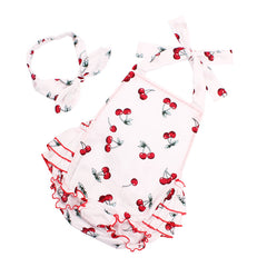 Ruffled Cherry pattern Cotton Baby Girl Rompers Headband Set Sleeveless - babiesfamily
