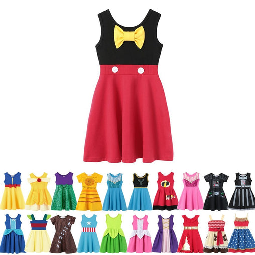 MUABABY Girls Summer Dress Child Mickey Belle Snow White Moana Elsa Anna Magic Hair Cotton Birthday Princess Costume