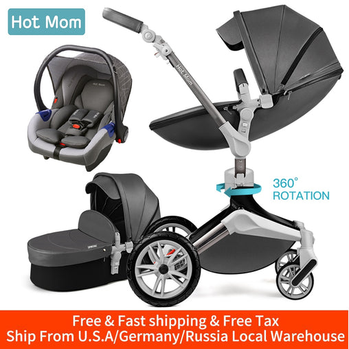 Hot Mom Baby Stroller 3 in 1 travel system with bassinet and car seat,360° Rotation Function children stroller,Luxury Pram F023