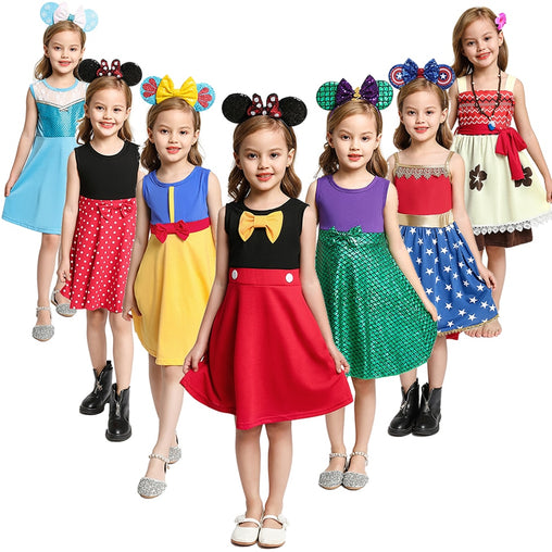 Summer Baby Girl Dress Mickey Costumes Kids Cartoon Role Playing Frocks Moana Outfits Elsa And Anna Princess Clothes