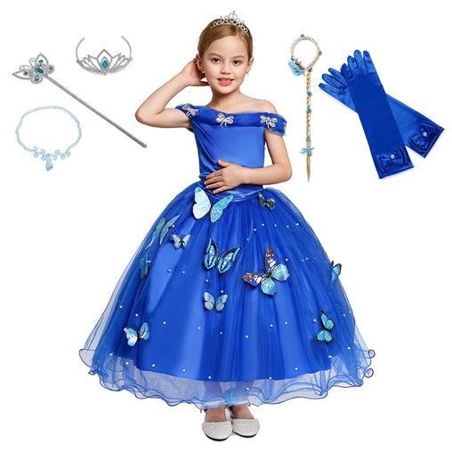 Girl Wedding Princess Dress Rella Role Playing Frocks Kids Party Cosplay Costume Blue Sleeveless Mesh Ball Gown Children Clothes