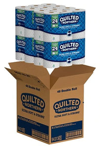Quilted Northern Ultra Soft & Strong® CleanStretch® 2-Ply Bathroom Tissue, White, 164 Sheets Per Roll, Pack Of 48 Rolls