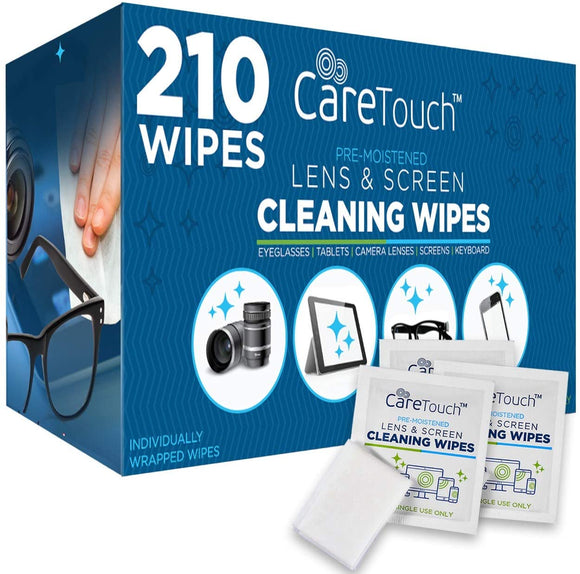Care Touch Lens Cleaning Wipes | 210 Pre-Moistened and Individually Wrapped Lens Cleaning Wipes