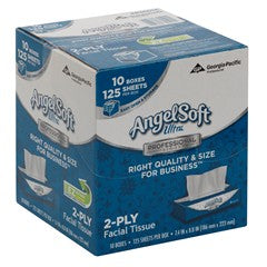 Angel Soft by GP PRO Ultra Professional Series® 2-Ply Facial Tissue, Flat Box, White, 125 Tissues Per Box, 10 Boxes
