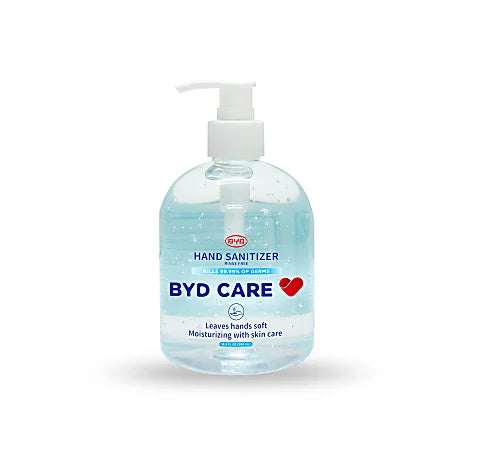 BYD Care Moisturizing Hand Sanitizer, Fragrance-Free, 16.9 Oz, Case of 20 Pump Bottles