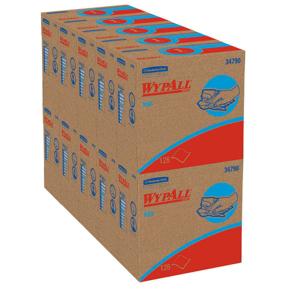 Wypall Kimberly-Clark X60 Wipers 126 wipers/box 10 boxes/cs