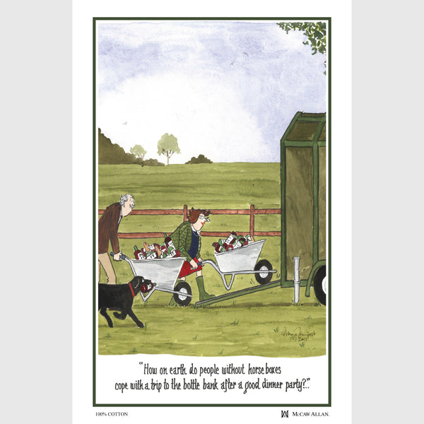 Tottering by Gently Trips to the Bottle Bank cotton tea towel